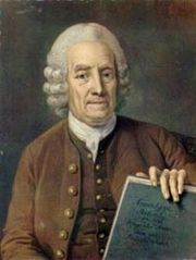 Emanuel Swedenborg, 75, holding the manuscript of Apocalypsis Revelata (1766).